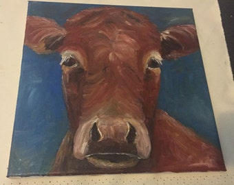 "Already Made 12x12x1/2"" Original Cow Oil Painting"