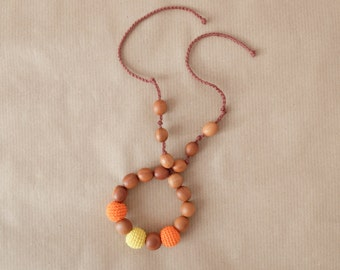 Baby Teething Ring in Orange & Yellow - Apple Wood