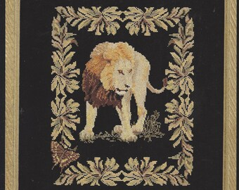 90s Safari Collection Lion Counted Cross Stitch Chart by Janet Powers Vintage Cross Stitch Charts