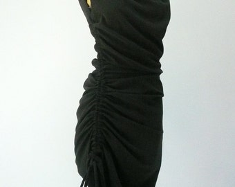 Maria Severyna Black Sleeveless Silk Ruched Dress