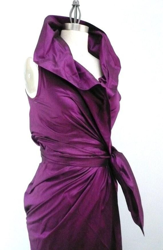 Maria Severyna royal magenta Dupioni Wrap Dress
