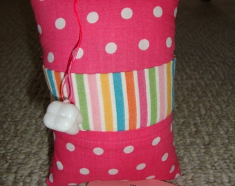 Tooth Fairy Pillow with tooth holder: Pink with white dots, stripes and plaid