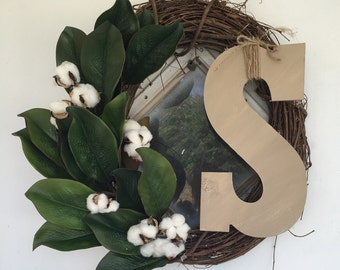 Magnolia and Cotton Initial Wreath
