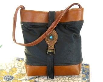 Recycled Leather Boho Hobo Handbag - Black & WArm Brown Upcycled Leather