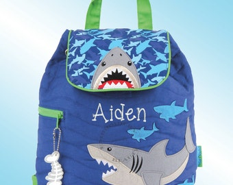 Quilted Backpack - Personalized and Embroidered - SHARKS