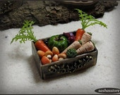 Miniature box with vegetables, 12th scale miniature dollhouse food