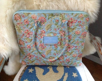 Quilted laptop carry bag Vera Bradley style