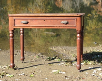 Antique Walnut Teacher's or Clerk's Desk From School or General Store Table.