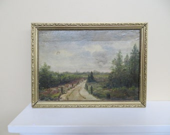 Vintage Oil Painting Plein Air / canvas painting of countryside / 10 1/4 by 13 3/4 as framed / as is