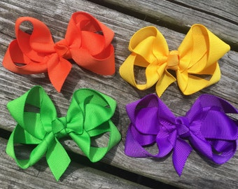 Primary Colors Boutique Hair Bows Clips Set of 4 Orange, Yellow, Apple Green, Purple Babies, Toddlers, Girls
