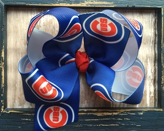 CHICAGO CUBS Baseball Blue Red White Boutique Style Hair Bow Babies Toddlers Girls