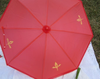 Blood Red Gold Parasol, Ornate Painted Fleur D lis, Red Waterproof, Sun Parasol, Fun Umbrella,  Style Parasol,