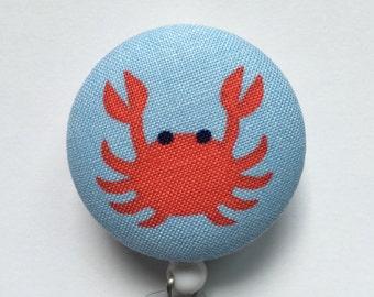 Beach Badge Reel - Crab Badge Holder - Retractable Badge Reel - ID Name Holder - Nurse Gift - Fabric Badge Reel