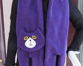 Purple Flat Cat Fleece Scarf - Limited Edition