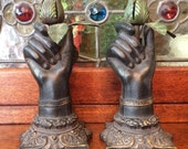 Gothic Figural Hand Candlesticks, Pair