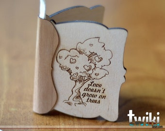 Small wood greeting card - Wood engraved card, valentine's day card, love card, wood card, laser cut card, laser engraved card, wedding card