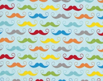 STORE CLOSING Sale Riley Blake Basics Geeky Mustaches 1 yard