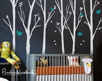 Wall decals, Trees, Birds - Removable Wall Vinyl Decal