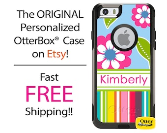 iPhone OtterBox Commuter Case for iPhone 7, 7 Plus, 6/6s, 6 Plus/6s Plus, 5/5s/SE, 5c Galaxy S7 S6 S5 Note 5 Monogrammed Floral Stripes Case