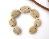 Stone Beads Beach Stone Links River Rock Beach Pebble Craft Beads Drilled Stone Connectors NEUTRAL LINKS 17-22 mm