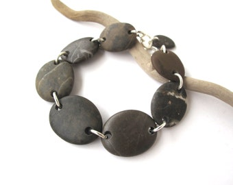 Bracelet Beach Stone Pebble Jewelry Mediterranean Beach Rock Jewelry River Stone Bracelet Natural Stone Jewellery Brown Silver BORABORA