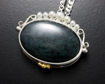 Velvet obsidian pendant necklace, oval silver noble pendant with pearls