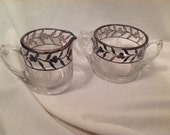 Vintage silver overlay cream and sugar bowl set