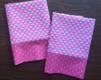 Pink and white pillow case set with pink polka doot cuff standard/queen