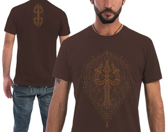 Psychedelic Men T shirt Trishula Screenprint, Graphic Tee, Brown Shirt, Psy Clothing, Burning Man, Mens Festival Wear