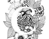 Letter C print - Alphabet, Calligraphy, Typography, Monogram, Flowers - Black and White ink art print