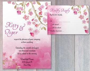 Wedding invitation or announcement - Cherry Blossoms