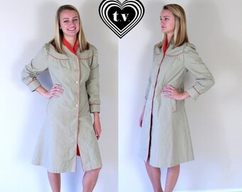 Half Off vtg 80s tan DOLLY red trim TRENCH COAT Large/Extra Large puff sleeve fitted skinny princess spy retro indie jacket outerwear
