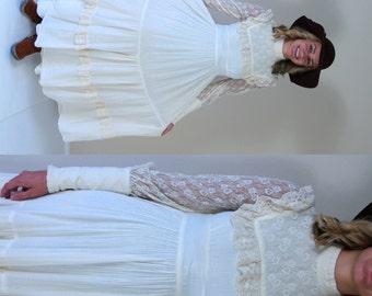 vtg 70s cream GUNNE SAX sheer lace Maxi DRESS xs prairie hippie gown bib ruffle wedding cotton gauze boho bohemian