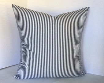Modern Blue and White Navy and White Stripped Pillow Cover