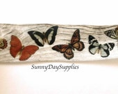 Butterfly wired Ribbon, Butterflies on Tree, Soft Wired Ribbon, 1.5 wide, 2 YARDS, Made in USA, Wreaths and Bows, Natrual, Butterfly Ribbons