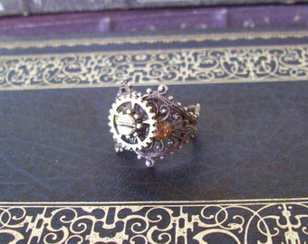 Steampunk Gear Ring (R601) Silver Oxidized Expandable Ringband Fits Sizes 9 Thru 10 1/2, Fancy Filigree Band,  Layered Gear and Crystals