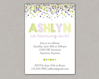 Confetti Birthday Invitation, Confetti Invitation, Girl Birthday Invitation