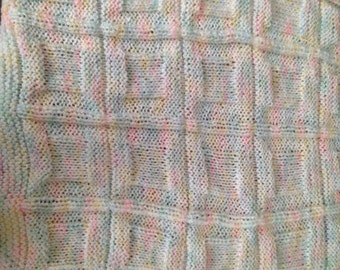 Hand Knit Baby Block Very Soft Baby Toddler Blanket Pink Blue Yellow White