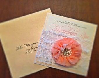 Flower & Brooch Wedding Invitation - Blush Wedding Invitation