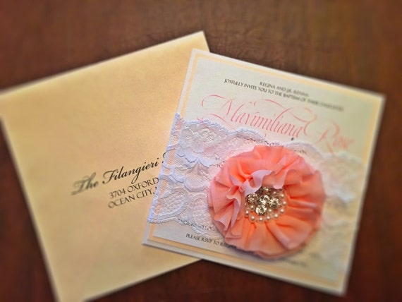 Flower & Brooch Wedding Invitation - Blush Wedding Invitation