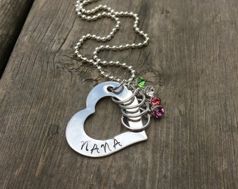 Stainless Steel Nana Grandma Mom Necklace with Birthstones