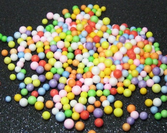 Fake candy balls sprinkles rainbow foam 2mm - 4mm tiny marbles 1 tablespoon / 15ml miniature sweet gumballs faux deco kawaii decoden topping