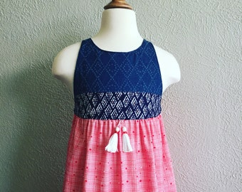 Denim Diamonds & Red Stripes Molly Dress - Handmade w/Tassels