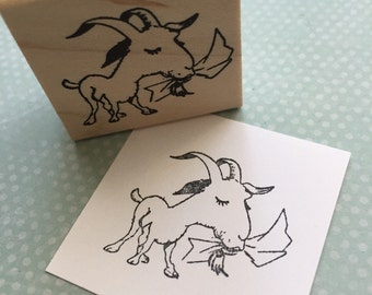 Goat Eating your Mail Wood Mounted Rubber Stamp 6474