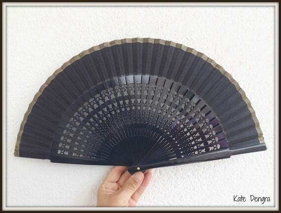 Navy Gold Fret Hand Fan