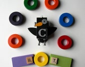 Robot Ornament - Crow Bot - Upcycled Ornament - Hanging Decor by Jen Hardwick