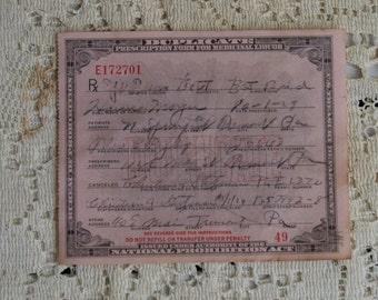 Vintage Prohibition Whiskey Prescription Pharmacy Medical Alcohol Rx Tremont PA 10/1/1929 Speakeasy Bar