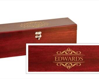 Personalized Filigree Design Wine Box With Tools - Rosewood Wine Box with Custom Engraving - Wedding Gift Wine Box, Wedding Wine Present