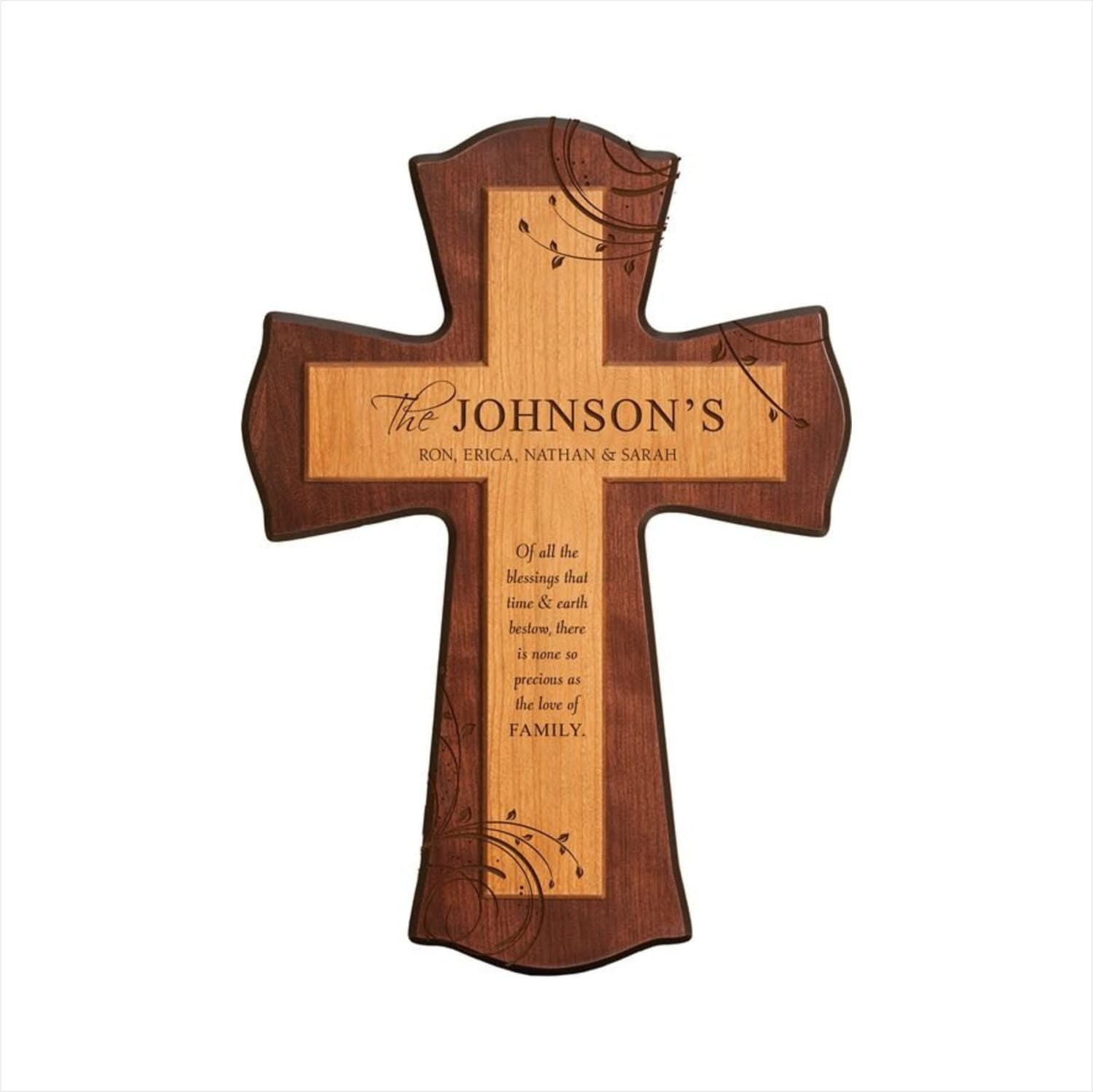 Personalized two tone wood 17 wall cross wood wedding zoom amipublicfo Gallery