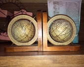 Vintage World Globe Spinning Bookends Made In Hong Kong 1950s